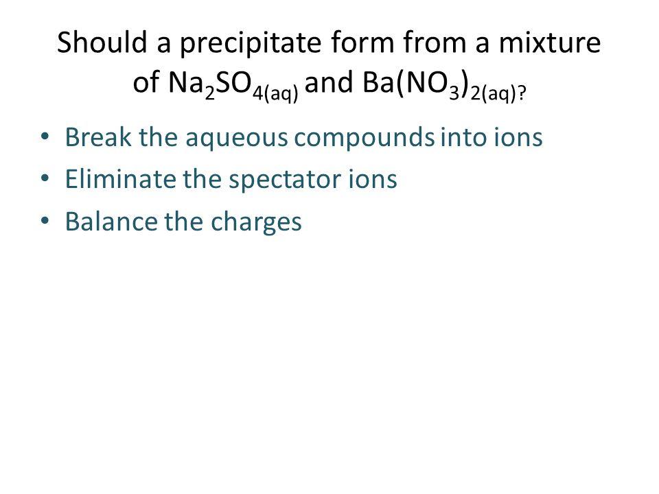 Should a precipitate form from a mixture of Na 2 SO 4(aq) and Ba(NO 3 ) 2(aq).
