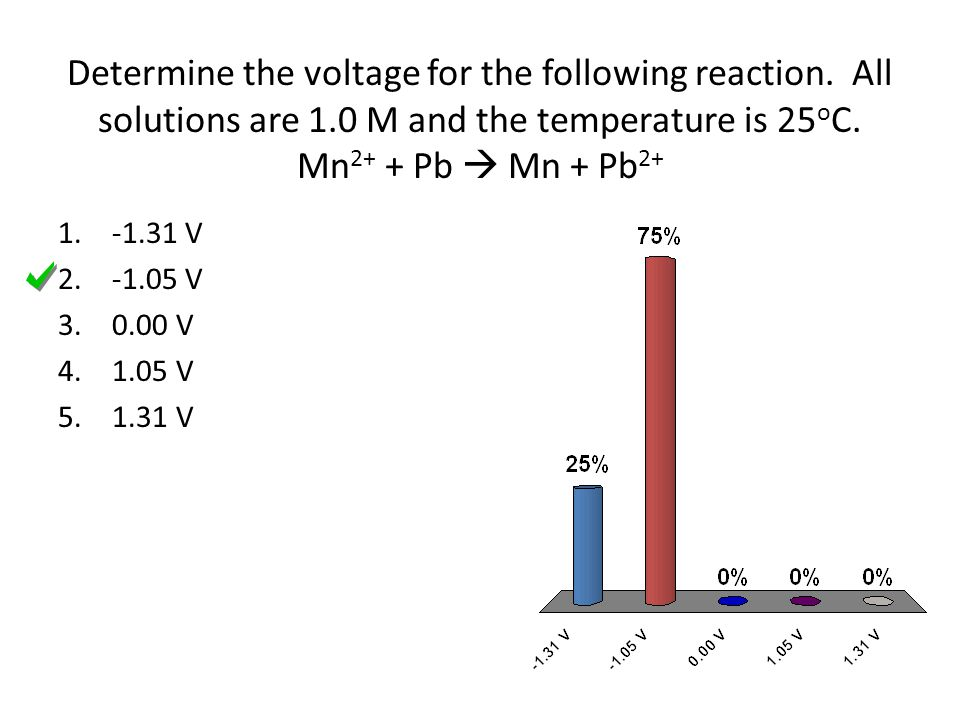 Determine the voltage for the following reaction.