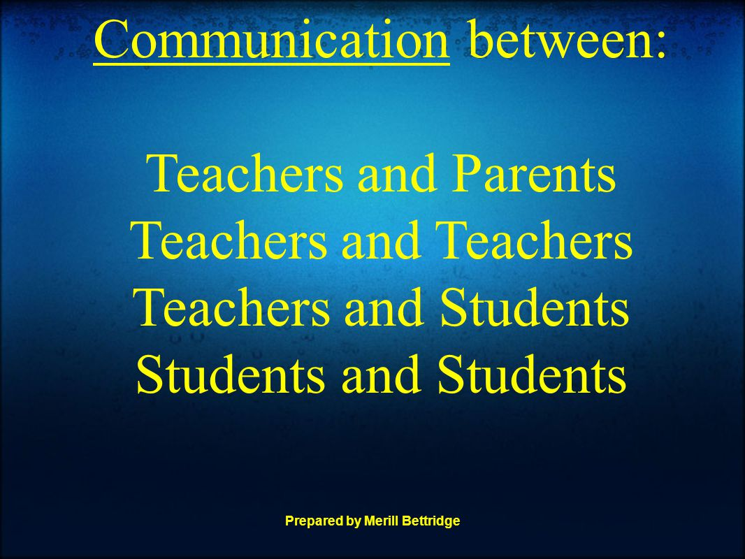 Prepared by Merill Bettridge Communication between: Teachers and Parents Teachers and Teachers Teachers and Students Students and Students