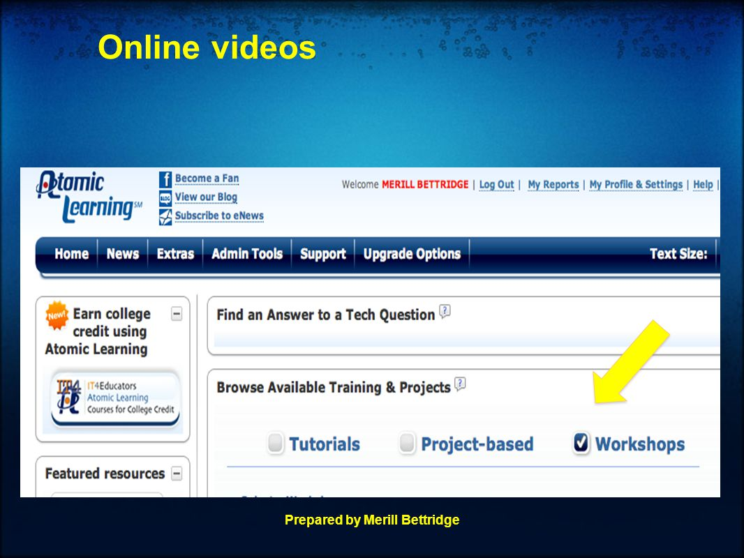 Online videos Prepared by Merill Bettridge