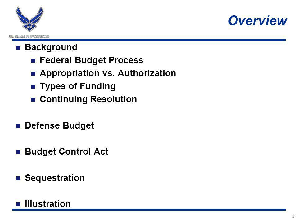 Overview Do Ask Questions Do Take Notes Ensure you claim CLP/CLU (8) DO NOT FALL ASLEEP 2 Background Federal Budget Process Appropriation vs.