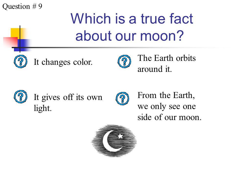 Which moon phase does this picture represent? Waning Crescent Last Quarter Waning GibbousWaxing Crescent Question # 8