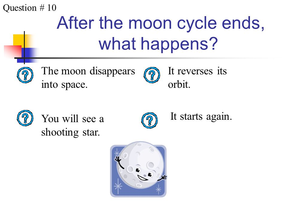 After the moon cycle ends, what happens.It starts again.