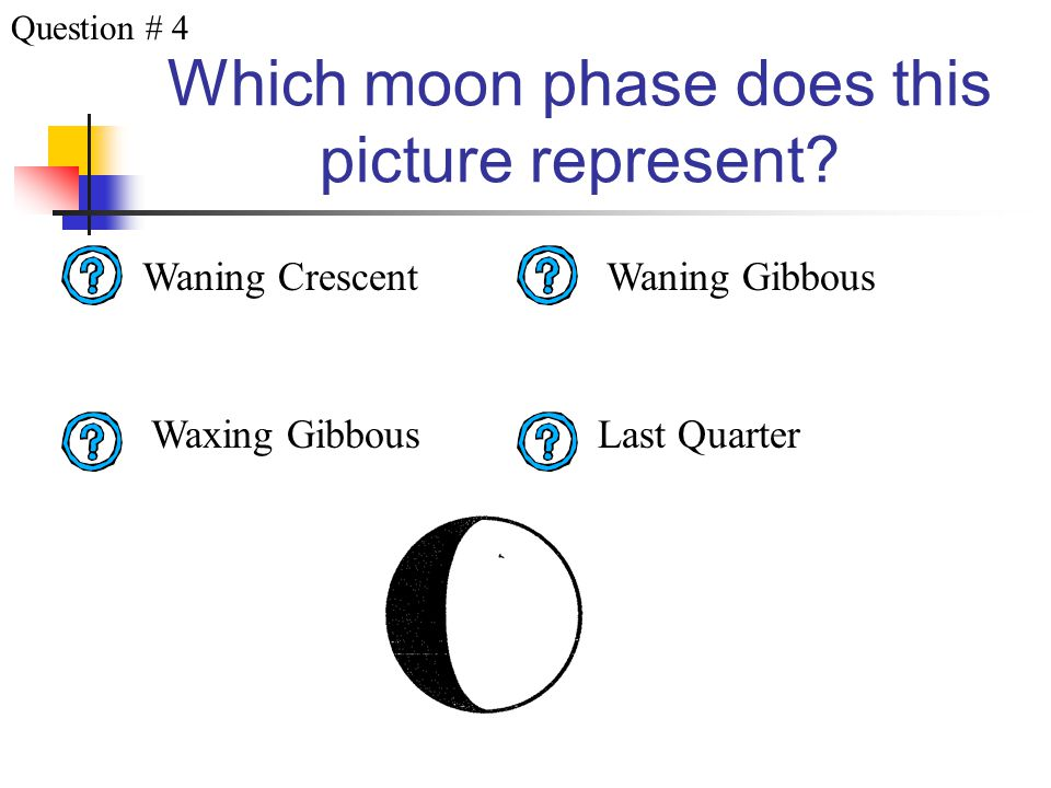 Which moon phase does this picture represent? First Quarter Waning Gibbous Full Moon Waxing Crescent Question # 3
