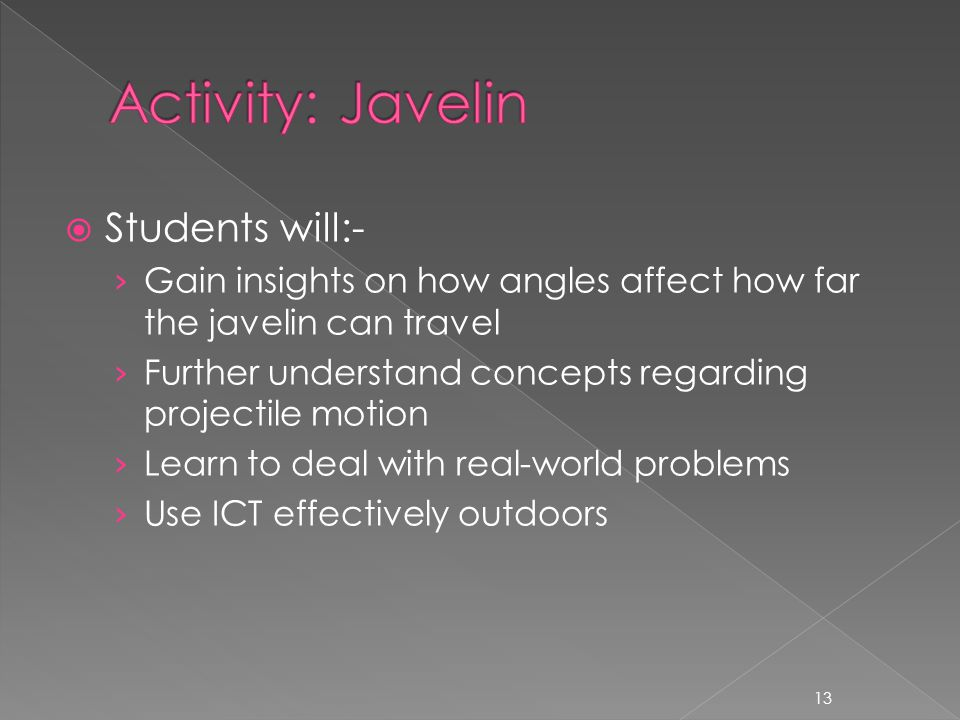  Students will:- › Gain insights on how angles affect how far the javelin can travel › Further understand concepts regarding projectile motion › Learn to deal with real-world problems › Use ICT effectively outdoors 13