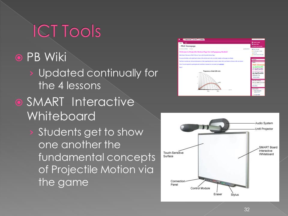  Teacher to formally conclude the chapter of projectile motion  Students will test their knowledge of projectile motion on the game in Lesson 1  Teacher will reinforce concepts / misconceptions using Youtube videos  Students will update their reflections on PB Wiki Inquiry-based learning, collaborative learning 33