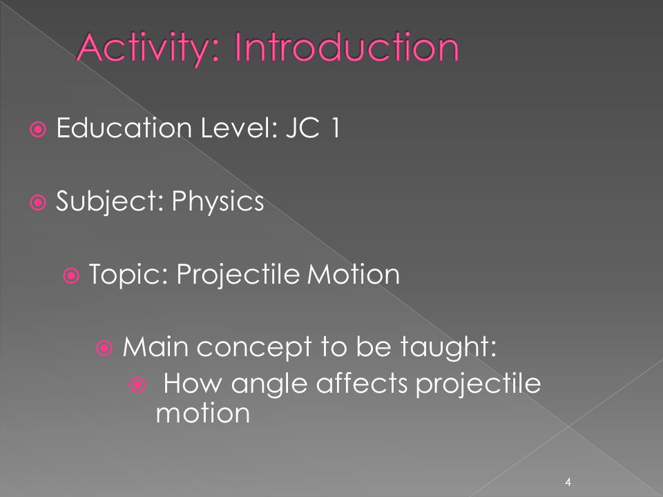  Education Level: JC 1  Subject: Physics  Topic: Projectile Motion  Main concept to be taught:  How angle affects projectile motion 4