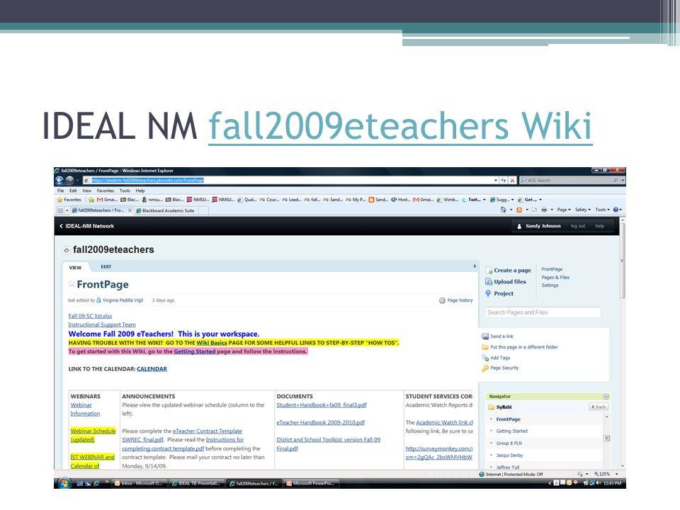 IDEAL NM fall2009eteachers Wikifall2009eteachers Wiki