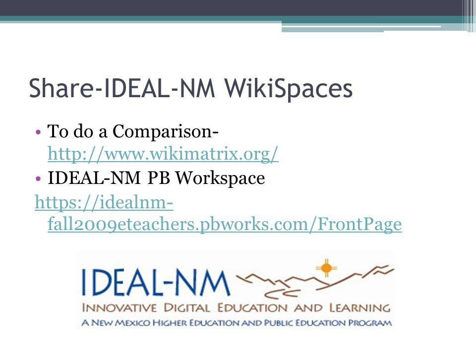 Share-IDEAL-NM WikiSpaces To do a Comparison- http://www.wikimatrix.org/ http://www.wikimatrix.org/ IDEAL-NM PB Workspace https://idealnm- fall2009eteachers.pbworks.com/FrontPage