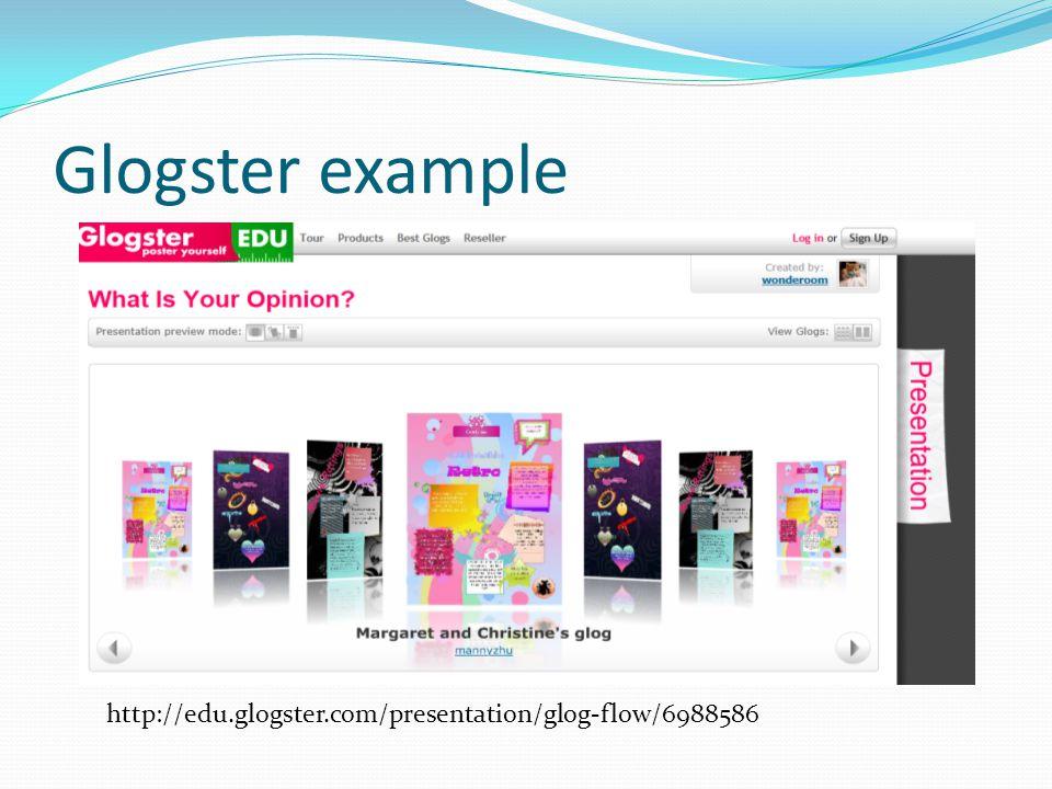 Glogster example http://edu.glogster.com/presentation/glog-flow/6988586