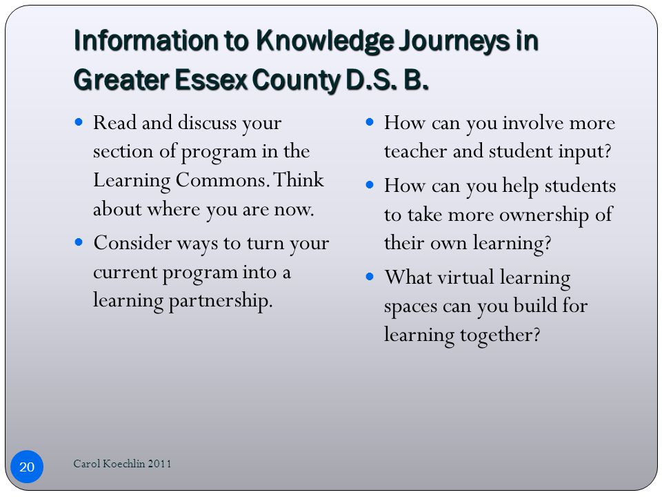 Information to Knowledge Journeys in Greater Essex County D.S.