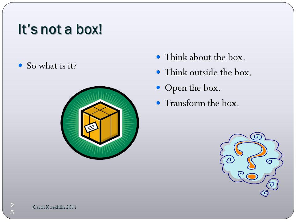 It's not a box. So what is it. Think about the box.