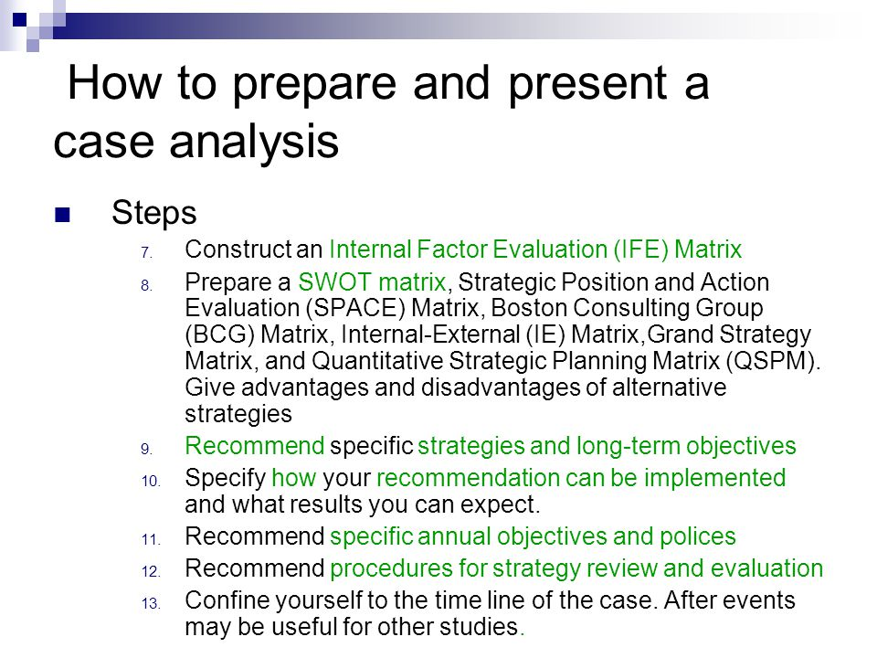 Oral presentation of a case analysis 1.Content 2.