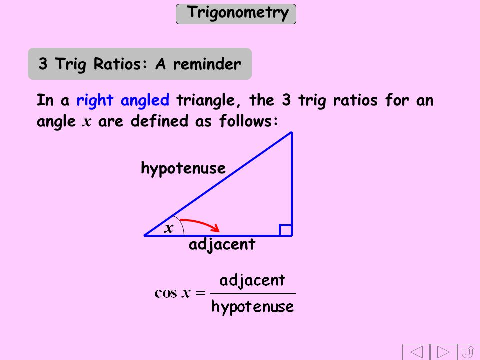 Trigonometry c b a a C B A Substituting for h in (1) - - - - - (1) In Draw the perpendicular, h, from C to BA.
