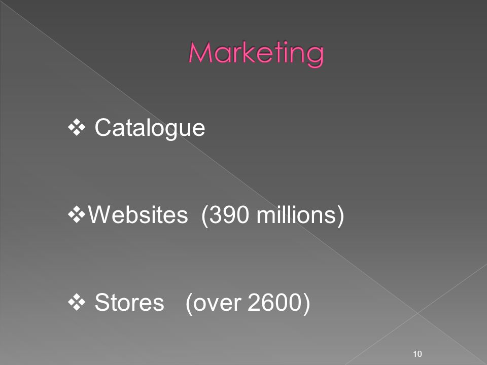 10  Catalogue  Websites (390 millions)  Stores (over 2600)