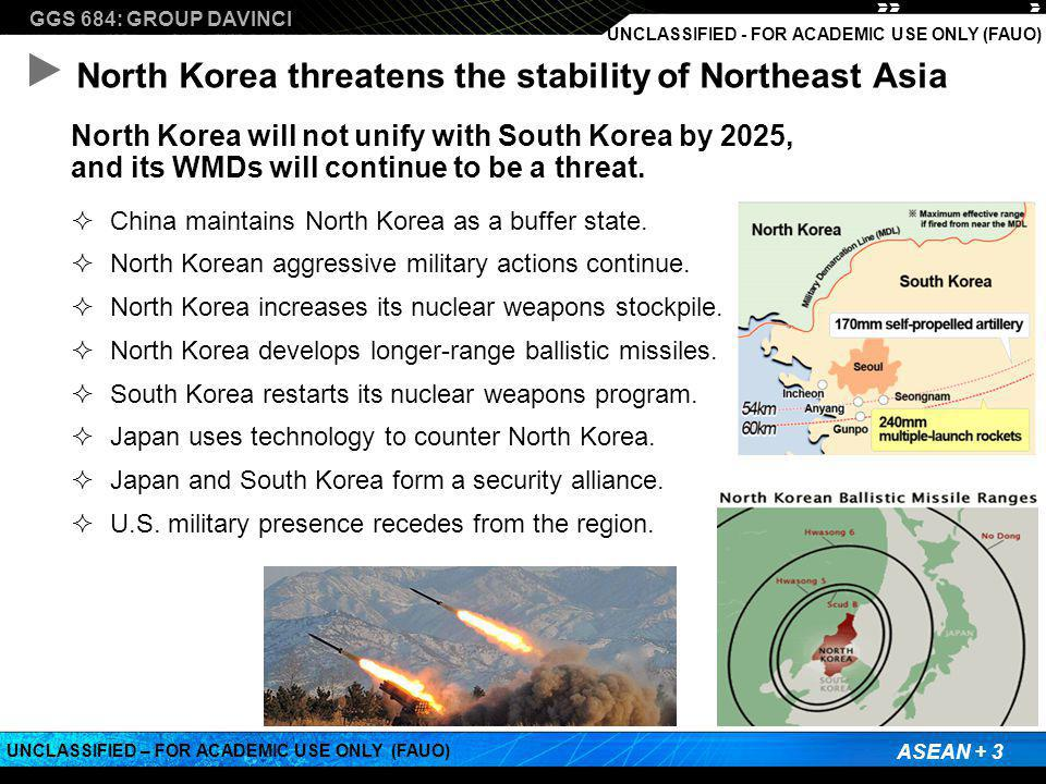 GGS 684: GROUP DAVINCI ASEAN + 3 UNCLASSIFIED – FOR ACADEMIC USE ONLY (FAUO) UNCLASSIFIED - FOR ACADEMIC USE ONLY (FAUO) North Korea threatens the stability of Northeast Asia North Korea will not unify with South Korea by 2025, and its WMDs will continue to be a threat.
