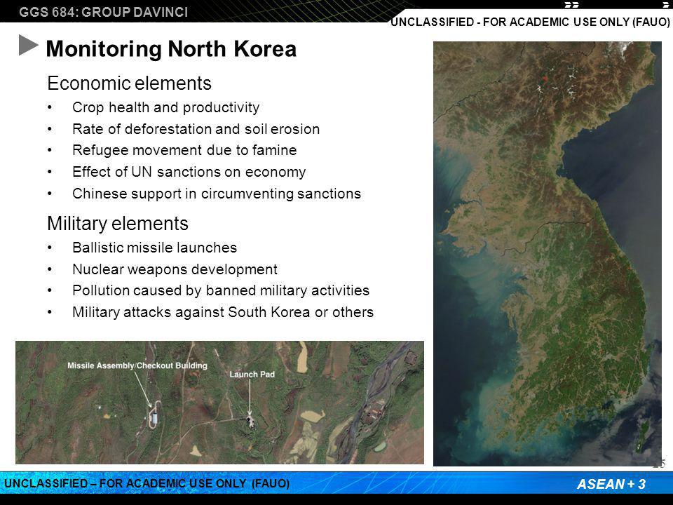 GGS 684: GROUP DAVINCI ASEAN + 3 UNCLASSIFIED – FOR ACADEMIC USE ONLY (FAUO) UNCLASSIFIED - FOR ACADEMIC USE ONLY (FAUO) Monitoring North Korea 25 Economic elements Crop health and productivity Rate of deforestation and soil erosion Refugee movement due to famine Effect of UN sanctions on economy Chinese support in circumventing sanctions Military elements Ballistic missile launches Nuclear weapons development Pollution caused by banned military activities Military attacks against South Korea or others