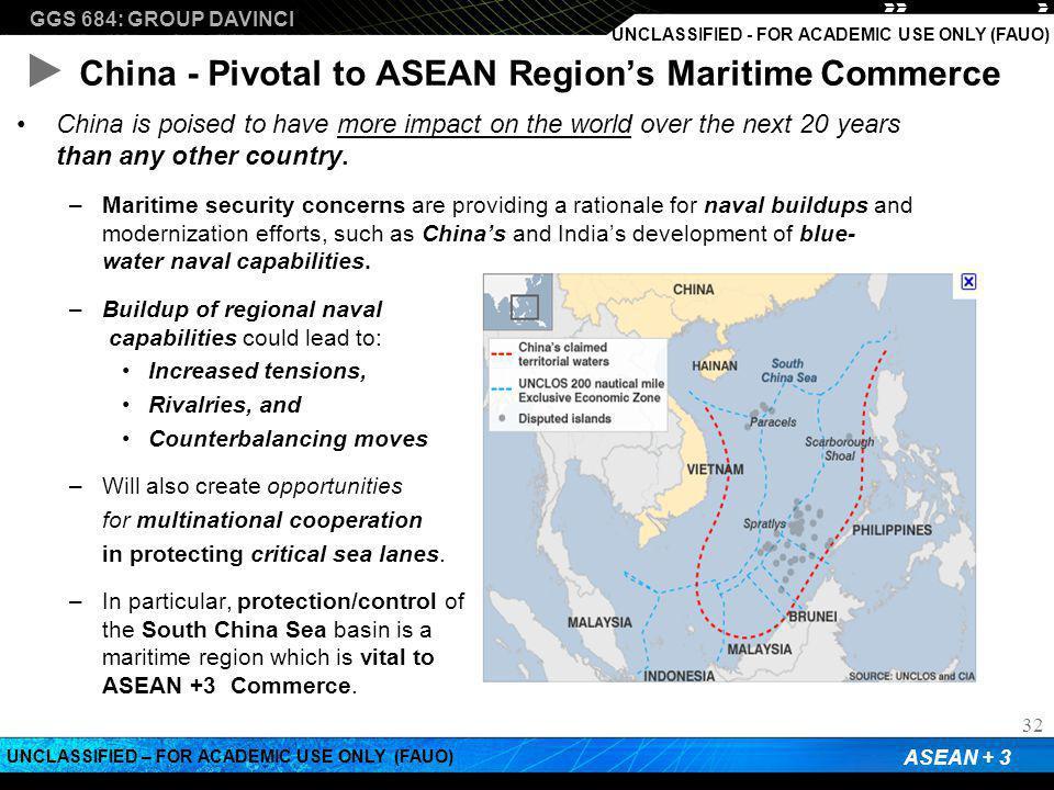 GGS 684: GROUP DAVINCI ASEAN + 3 UNCLASSIFIED – FOR ACADEMIC USE ONLY (FAUO) UNCLASSIFIED - FOR ACADEMIC USE ONLY (FAUO) China - Pivotal to ASEAN Regi