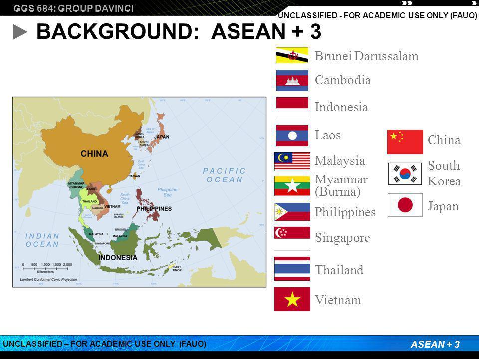 GGS 684: GROUP DAVINCI ASEAN + 3 UNCLASSIFIED – FOR ACADEMIC USE ONLY (FAUO) UNCLASSIFIED - FOR ACADEMIC USE ONLY (FAUO) BACKGROUND: ASEAN + 3 Brunei Darussalam Cambodia Indonesia Laos Malaysia Myanmar (Burma) Philippines Singapore Thailand Vietnam China South Korea Japan