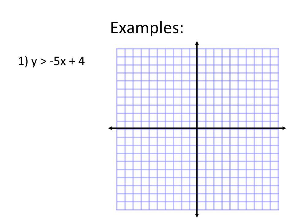 Examples: 1) y > -5x + 4