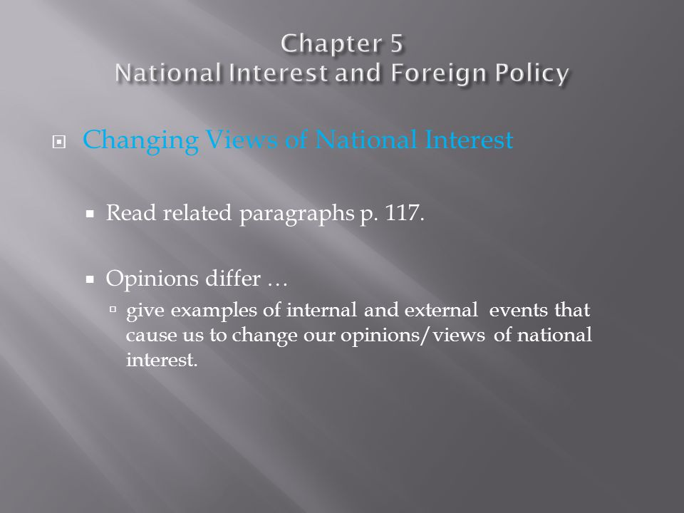  Differing views of National Interest  Read related paragraphs p.