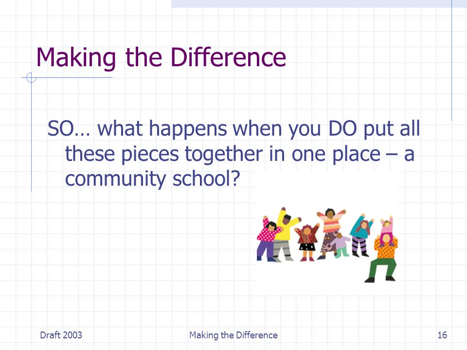 Draft 2003Making the Difference16 Making the Difference SO… what happens when you DO put all these pieces together in one place – a community school?