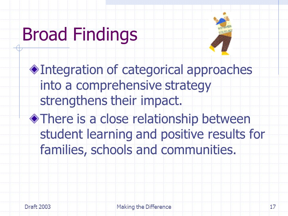 Draft 2003Making the Difference17 Broad Findings Integration of categorical approaches into a comprehensive strategy strengthens their impact. There i
