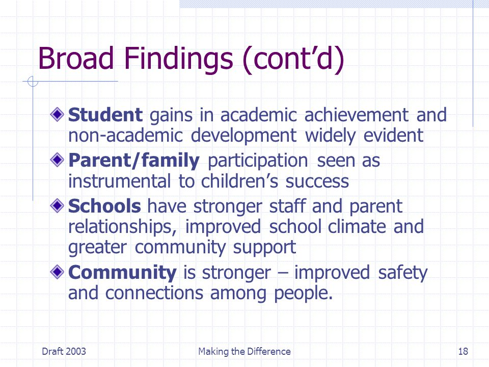 Draft 2003Making the Difference18 Broad Findings (cont'd) Student gains in academic achievement and non-academic development widely evident Parent/family participation seen as instrumental to children's success Schools have stronger staff and parent relationships, improved school climate and greater community support Community is stronger – improved safety and connections among people.