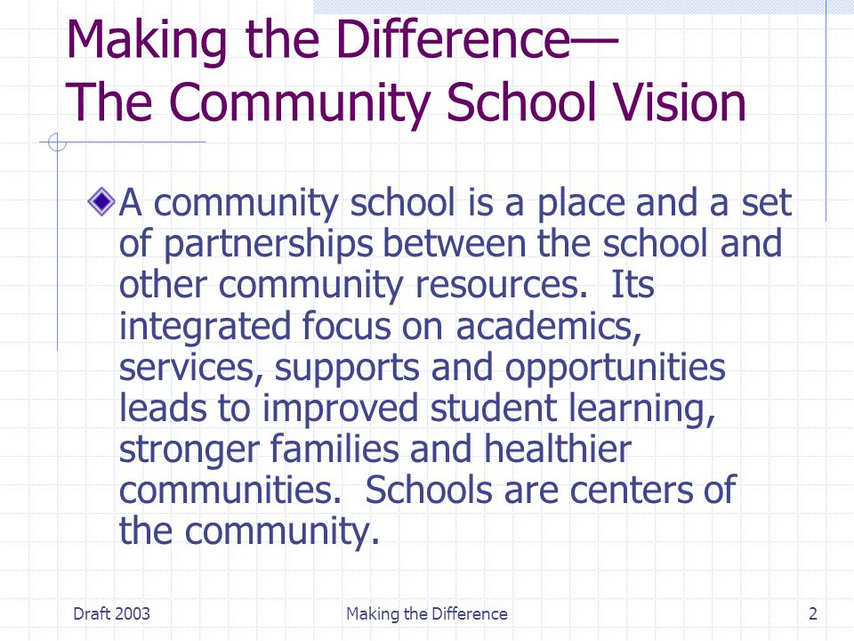 Draft 2003Making the Difference2 Making the Difference— The Community School Vision A community school is a place and a set of partnerships between the school and other community resources.