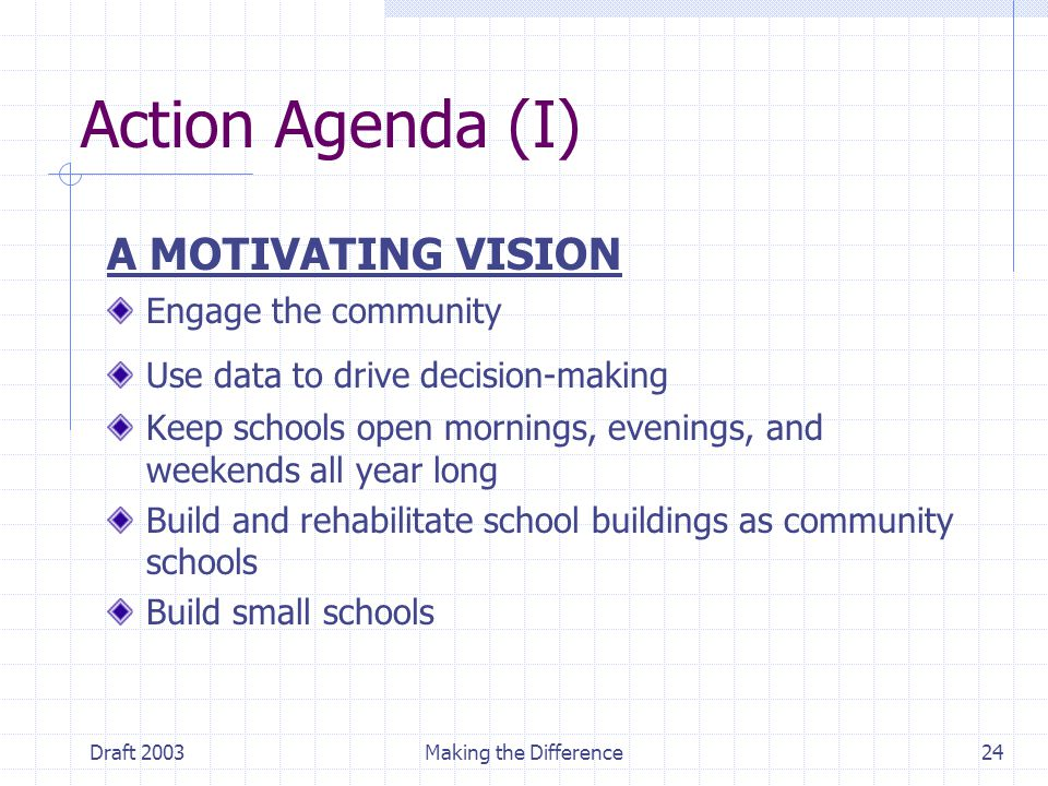 Draft 2003Making the Difference24 Action Agenda (I) A MOTIVATING VISION Engage the community Use data to drive decision-making Keep schools open mornings, evenings, and weekends all year long Build and rehabilitate school buildings as community schools Build small schools