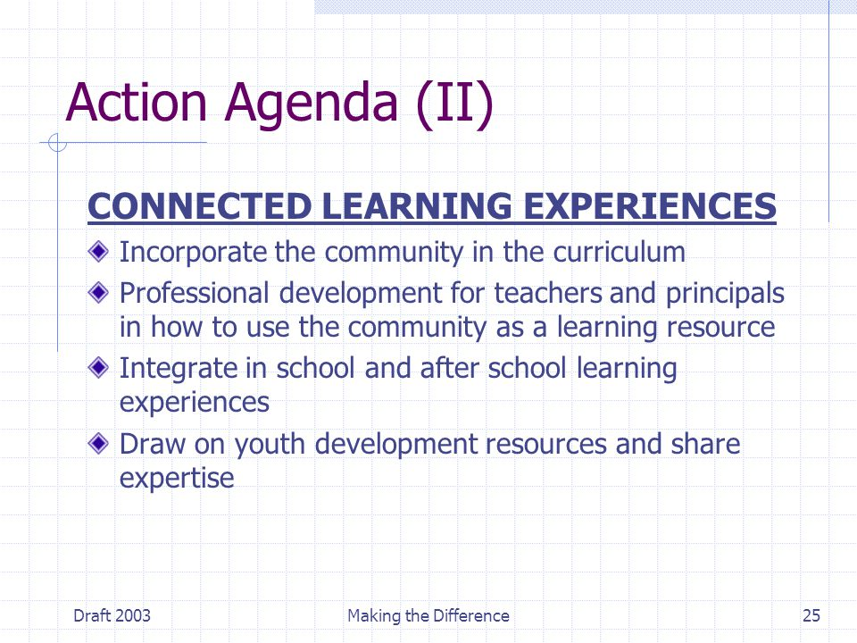 Draft 2003Making the Difference25 Action Agenda (II) CONNECTED LEARNING EXPERIENCES Incorporate the community in the curriculum Professional development for teachers and principals in how to use the community as a learning resource Integrate in school and after school learning experiences Draw on youth development resources and share expertise