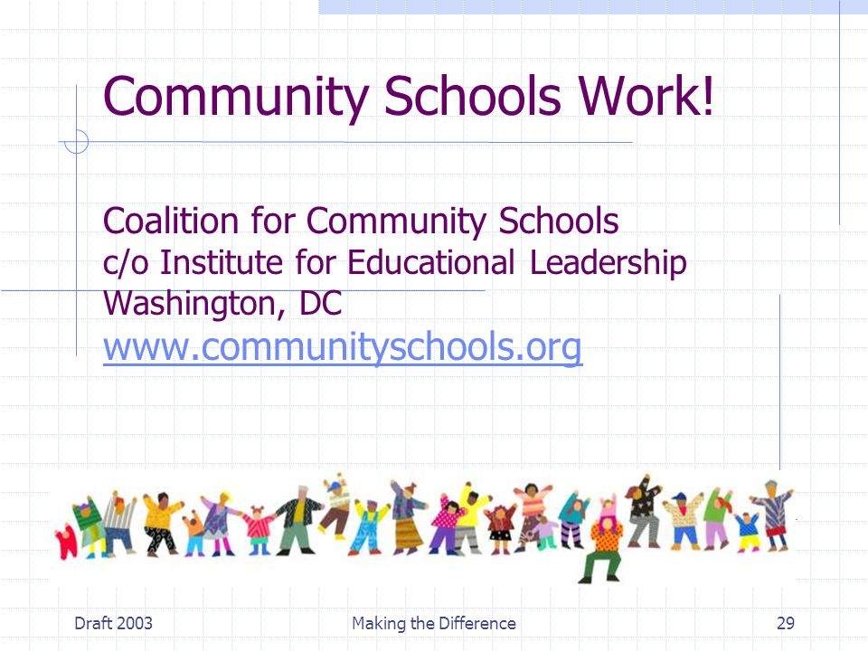 Draft 2003Making the Difference29 Community Schools Work! Coalition for Community Schools c/o Institute for Educational Leadership Washington, DC www.