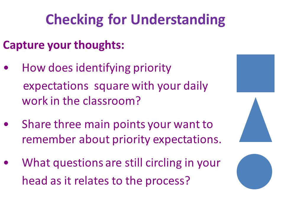 Checking for Understanding Capture your thoughts: How does identifying priority expectations square with your daily work in the classroom? Share three