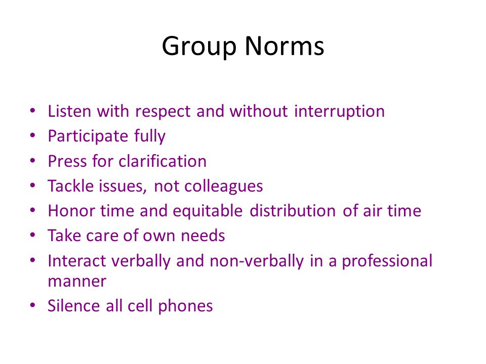 Group Norms Listen with respect and without interruption Participate fully Press for clarification Tackle issues, not colleagues Honor time and equita