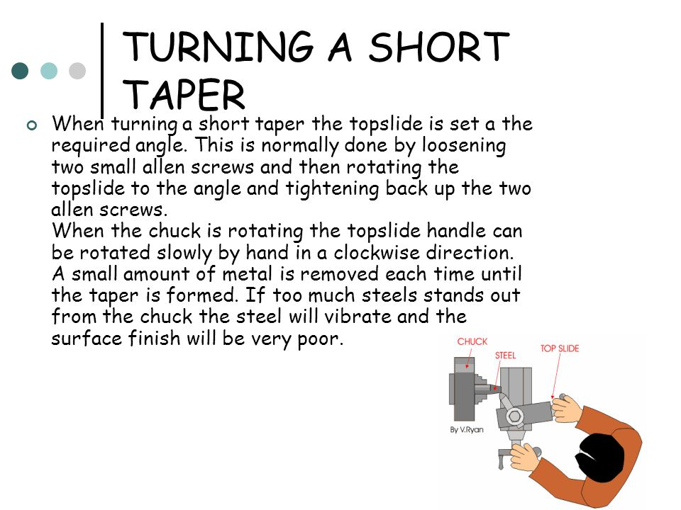 TURNING A SHORT TAPER When turning a short taper the topslide is set a the required angle.