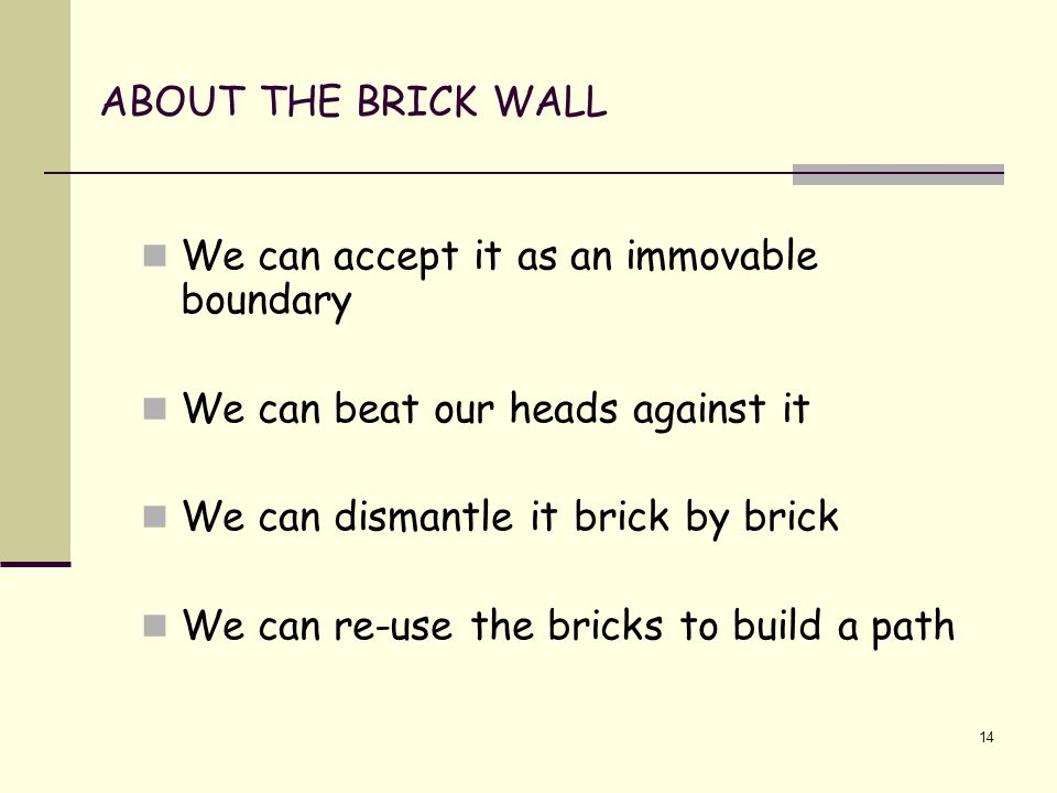 14 ABOUT THE BRICK WALL We can accept it as an immovable boundary We can beat our heads against it We can dismantle it brick by brick We can re-use the bricks to build a path