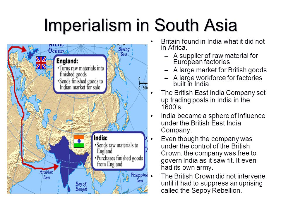 Imperialism in South Asia Britain found in India what it did not in Africa. –A supplier of raw material for European factories –A large market for Bri