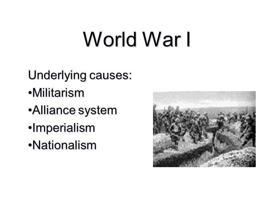 Underlying causes: MilitarismMilitarism Alliance systemAlliance system ImperialismImperialism NationalismNationalism
