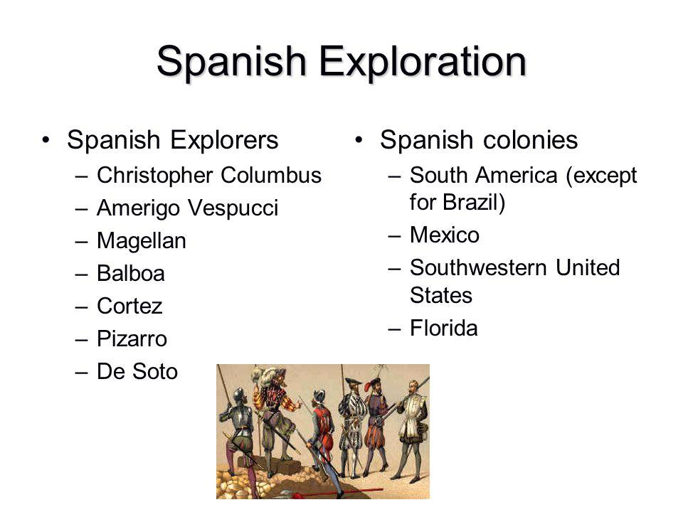 Spanish Exploration Spanish Explorers –Christopher Columbus –Amerigo Vespucci –Magellan –Balboa –Cortez –Pizarro –De Soto Spanish colonies –South Amer