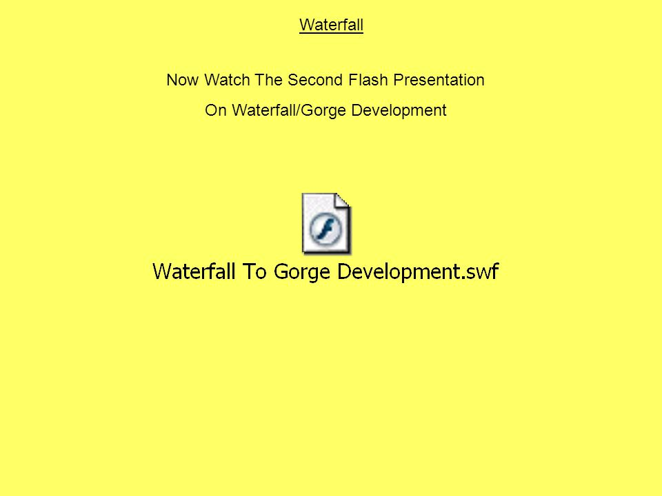 Waterfall Now Watch The Second Flash Presentation On Waterfall/Gorge Development