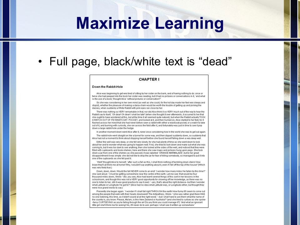 Maximize Learning Full page, black/white text is dead