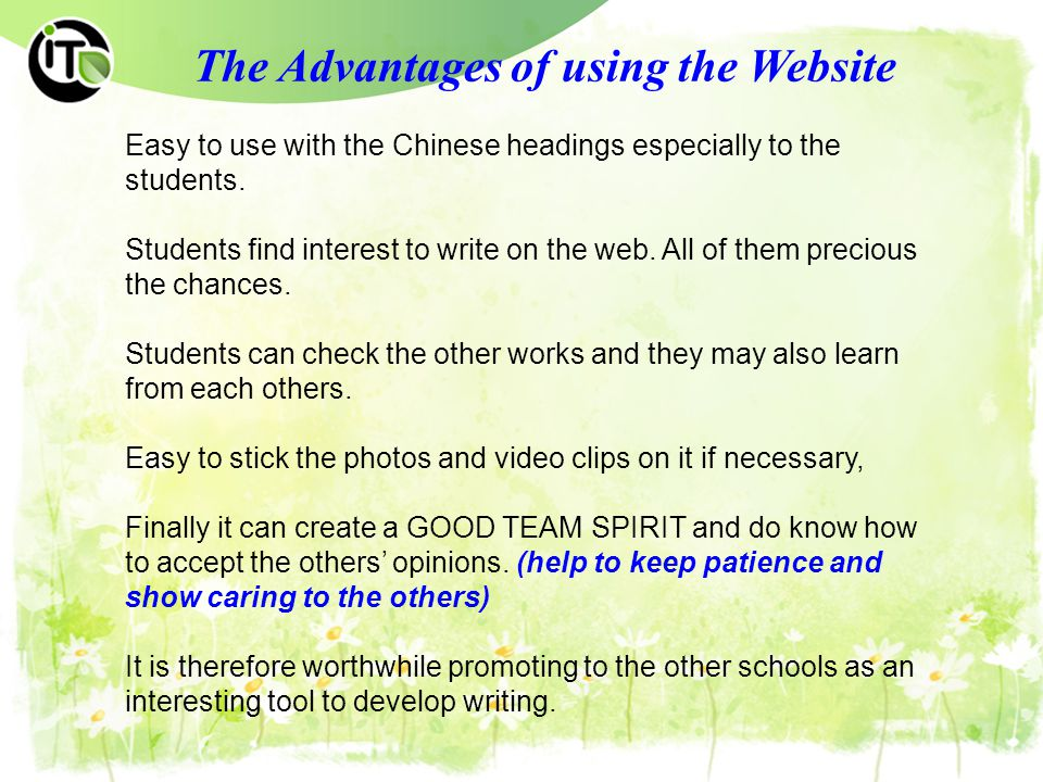 The Advantages of using the Website Easy to use with the Chinese headings especially to the students.