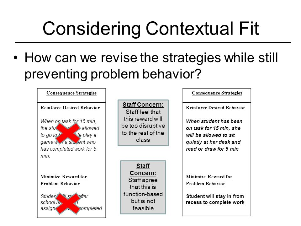 Considering Contextual Fit How can we revise the strategies while still preventing problem behavior? Consequence Strategies Reinforce Desired Behavior