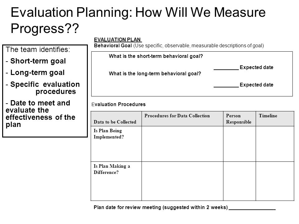 EVALUATION PLAN Behavioral Goal (Use specific, observable, measurable descriptions of goal) What is the short-term behavioral goal? _________ Expected