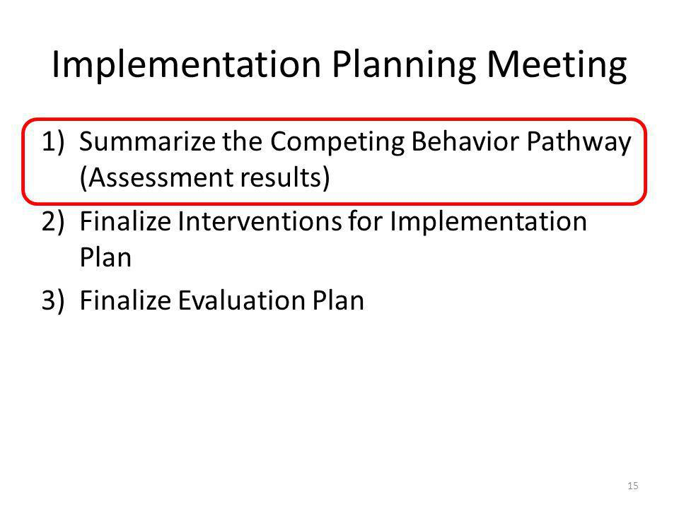 Implementation Planning Meeting 1)Summarize the Competing Behavior Pathway (Assessment results) 2)Finalize Interventions for Implementation Plan 3)Fin