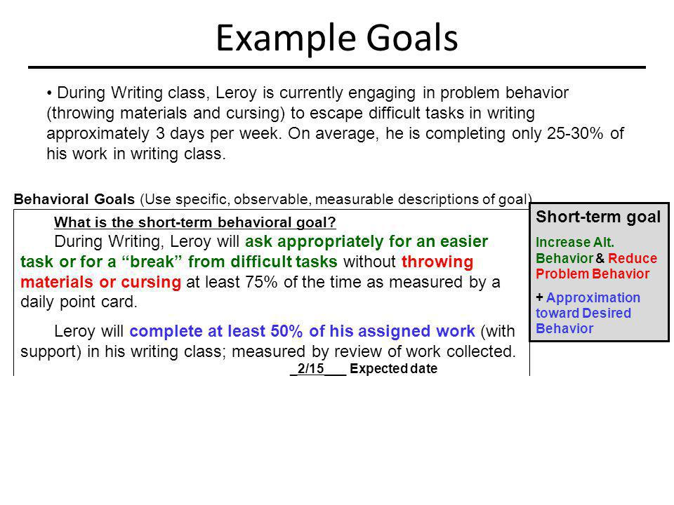 Example Goals Behavioral Goals (Use specific, observable, measurable descriptions of goal) What is the short-term behavioral goal? During Writing, Ler