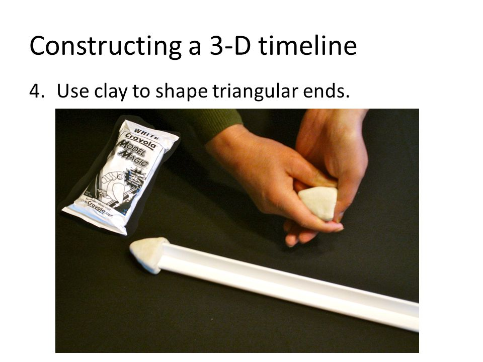 Constructing a 3-D timeline 4.Use clay to shape triangular ends.