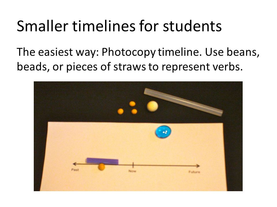 Smaller timelines for students The easiest way: Photocopy timeline.