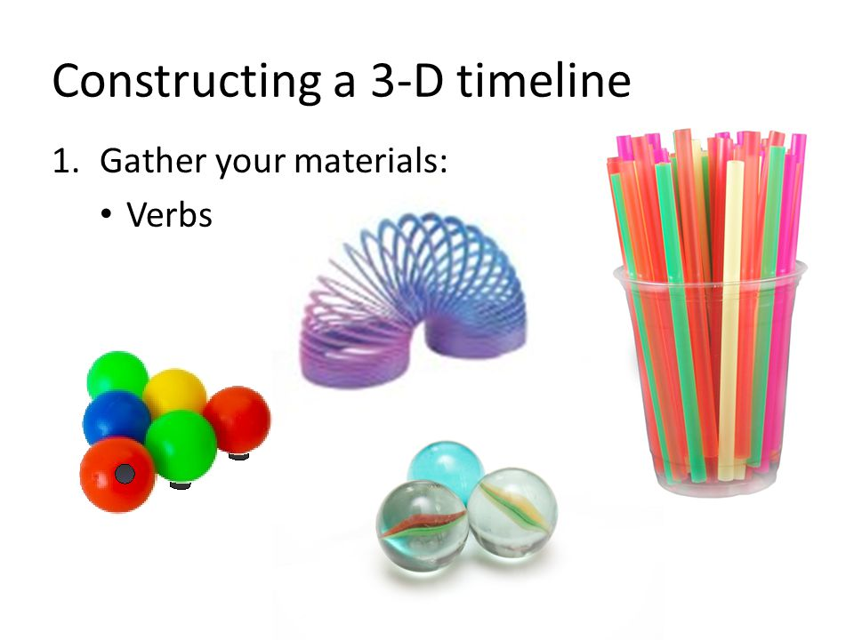 Constructing a 3-D timeline 1.Gather your materials: Verbs