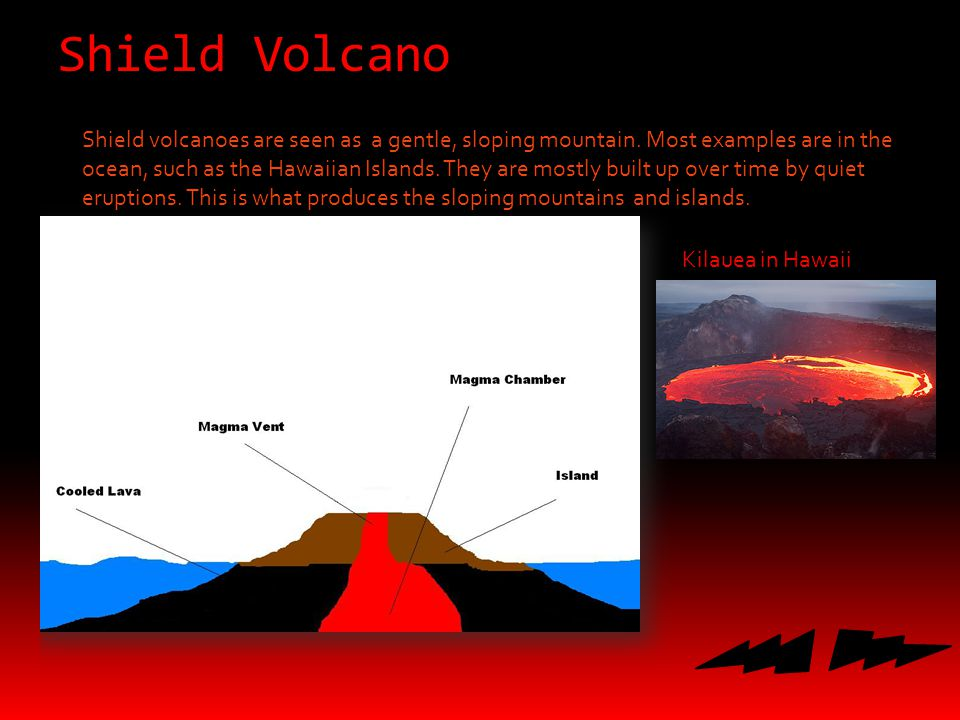 Shield Volcano Shield volcanoes are seen as a gentle, sloping mountain.